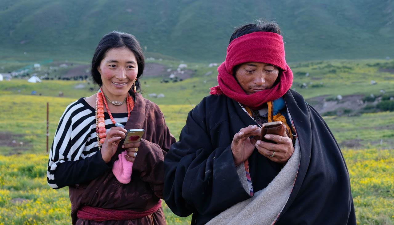 Nomaden in Nyenpo Yurtse in Amdo in Osttibet