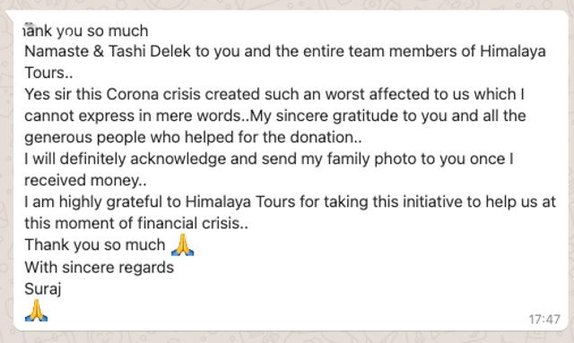 Whatsapp Nachricht von Suraj aus Sikkim.