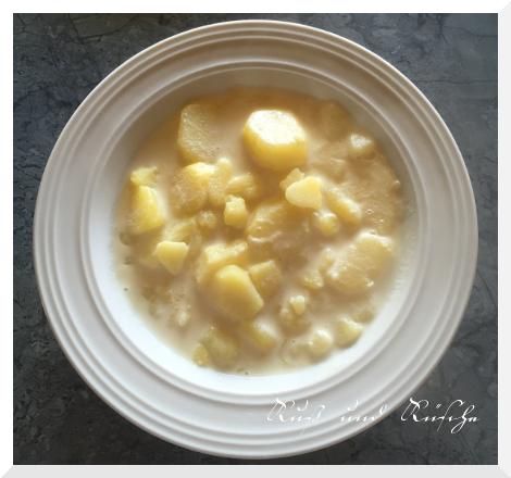 Nach Geschmack salzen und servieren. Hier pur ohne Beilage, ich kann mir die Kartoffeln aber auch sehr gut zu Gebratenem vorstellen.