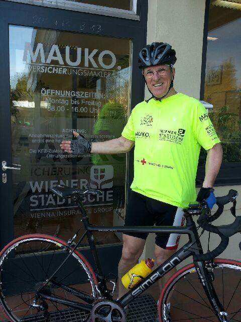 Bild vom 17. März 2014 in Stainz (nach dem Training) Peter mit seinem neuen Rennrad Simplon Pavo3 Carbon 6,7 kg!