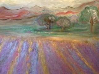Lavendelfeld, Jana Paul, Öl auf Leinwand