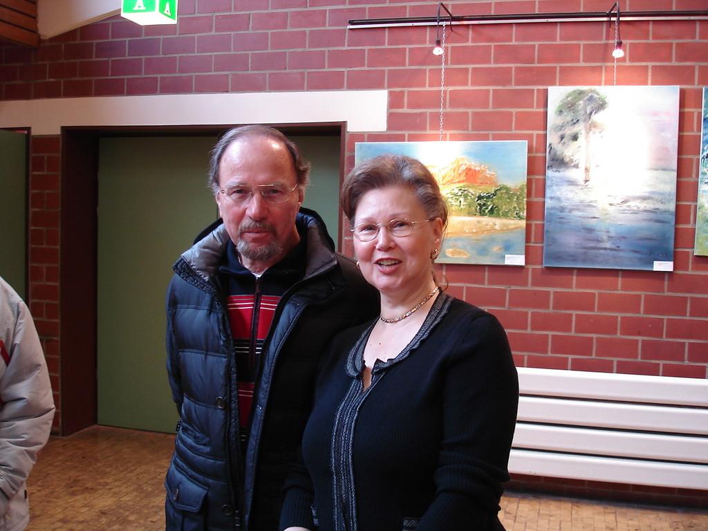 Das Ehepaar Kröll bei der Vernissage im Freizeithaus Waldhof am 08.01.2012