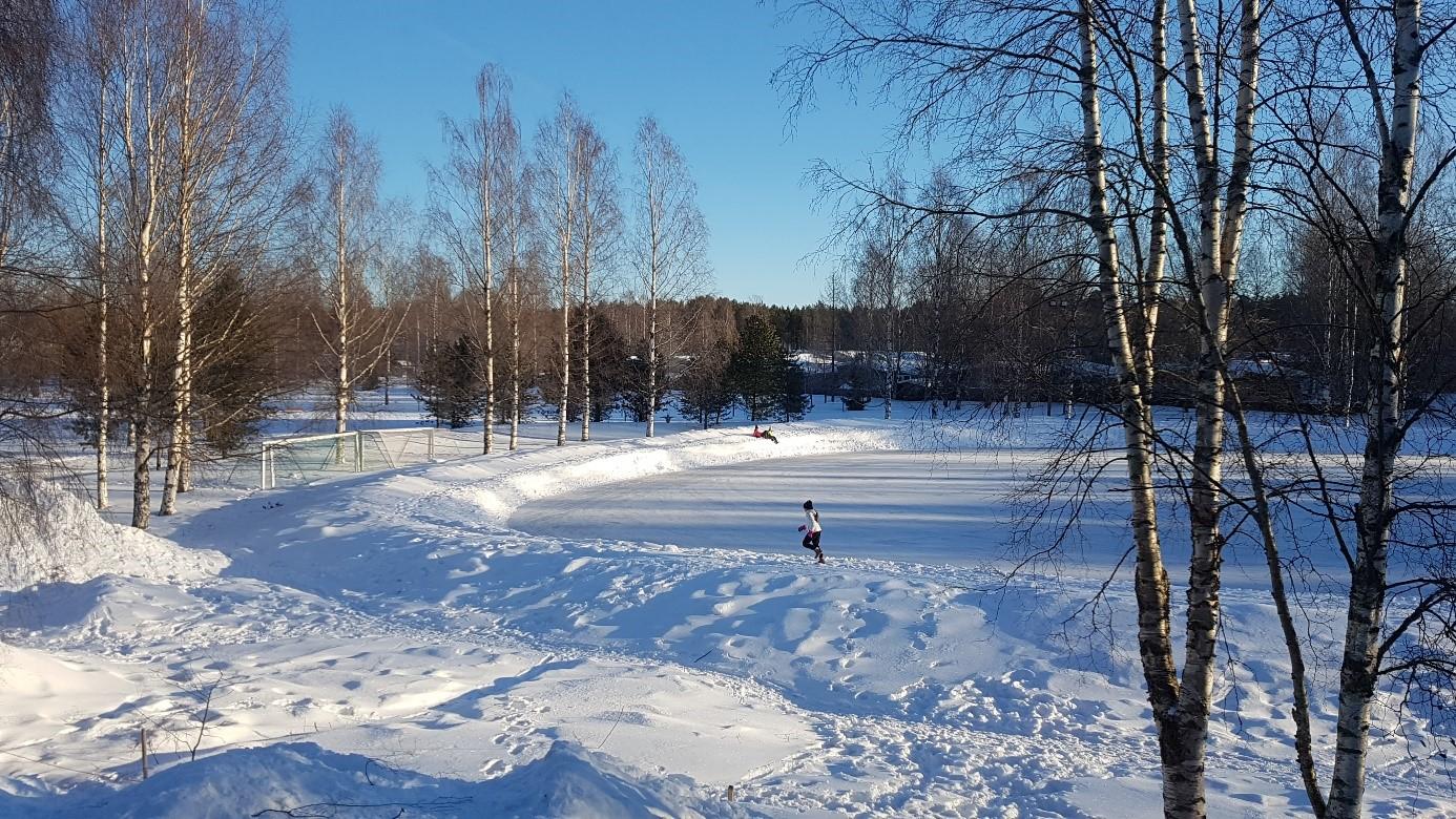 Sportvelden in winter van de Teacher Training School University Oulu Finland