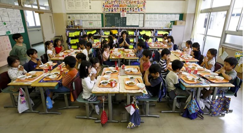 Lunch at primary School Tokyo Japan