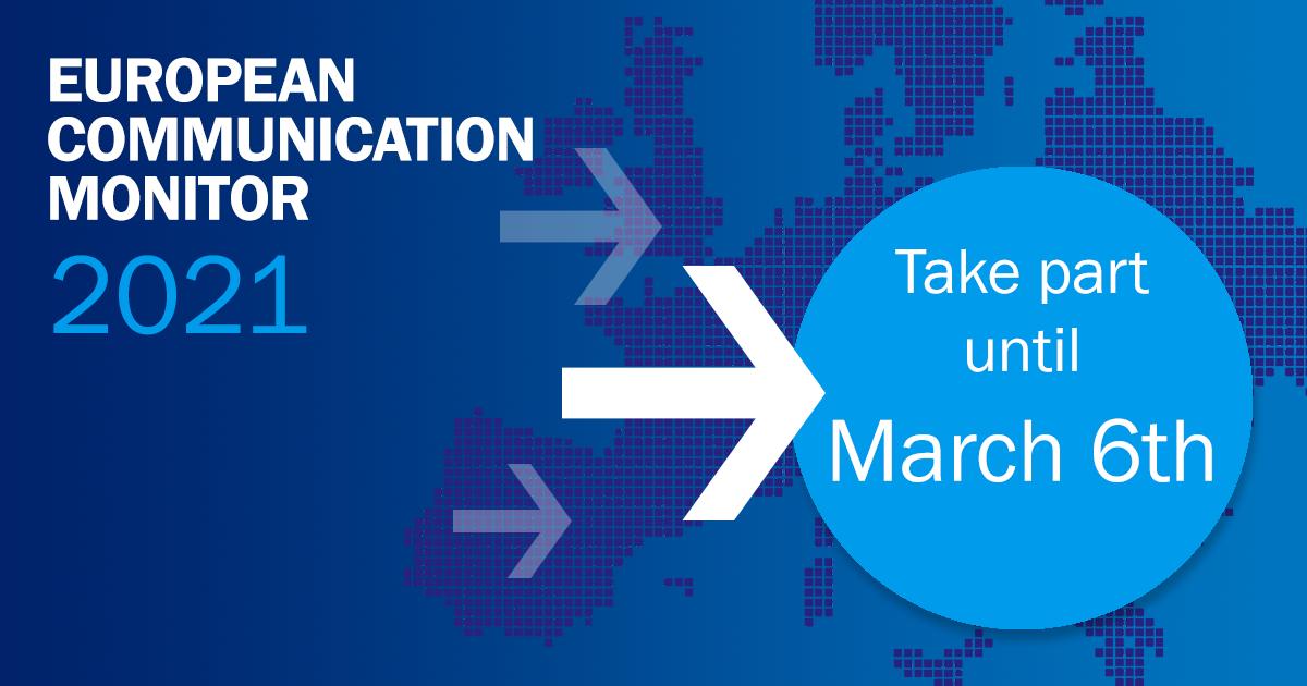 European Communication Monitor 2021: Jetzt teilnehmen an der weltweit größten Umfrage der Kommunikations-Branche