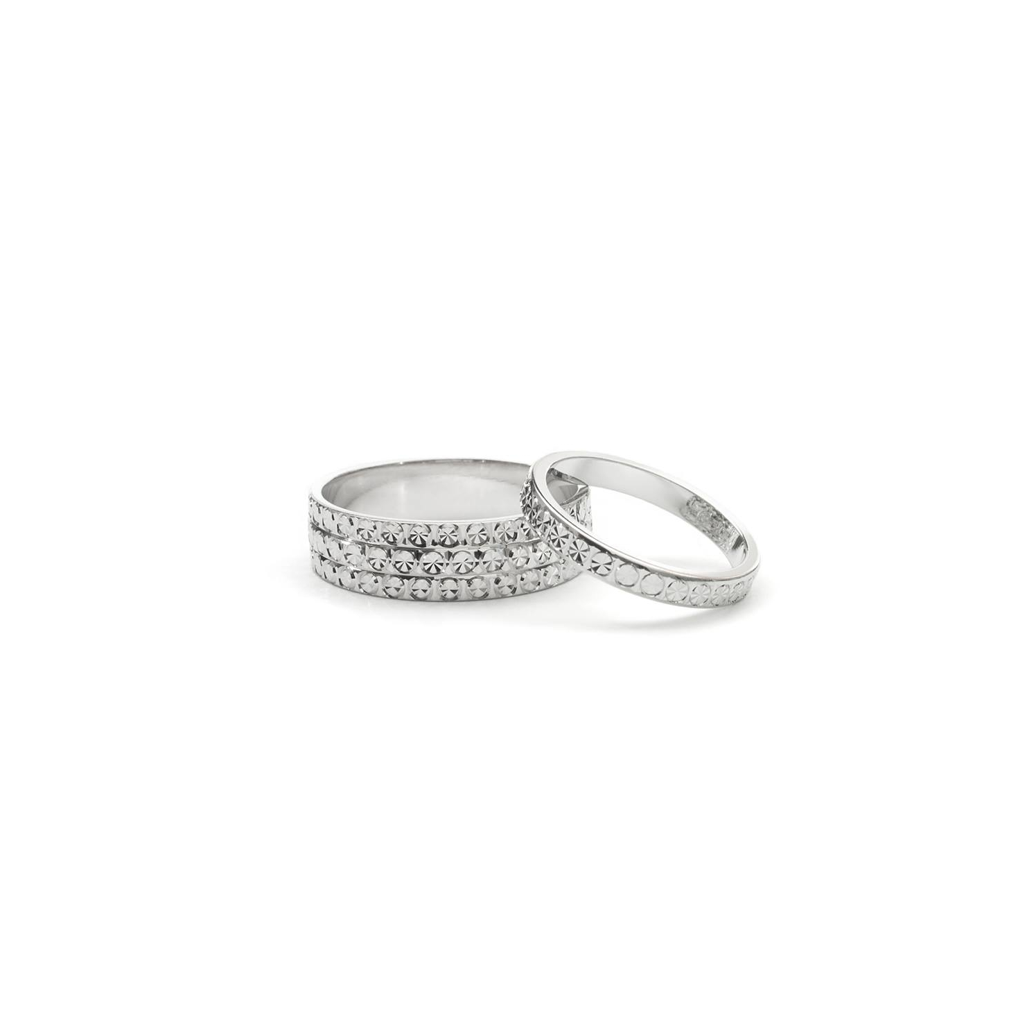 Alliances Diamond Cut en or blanc 14K