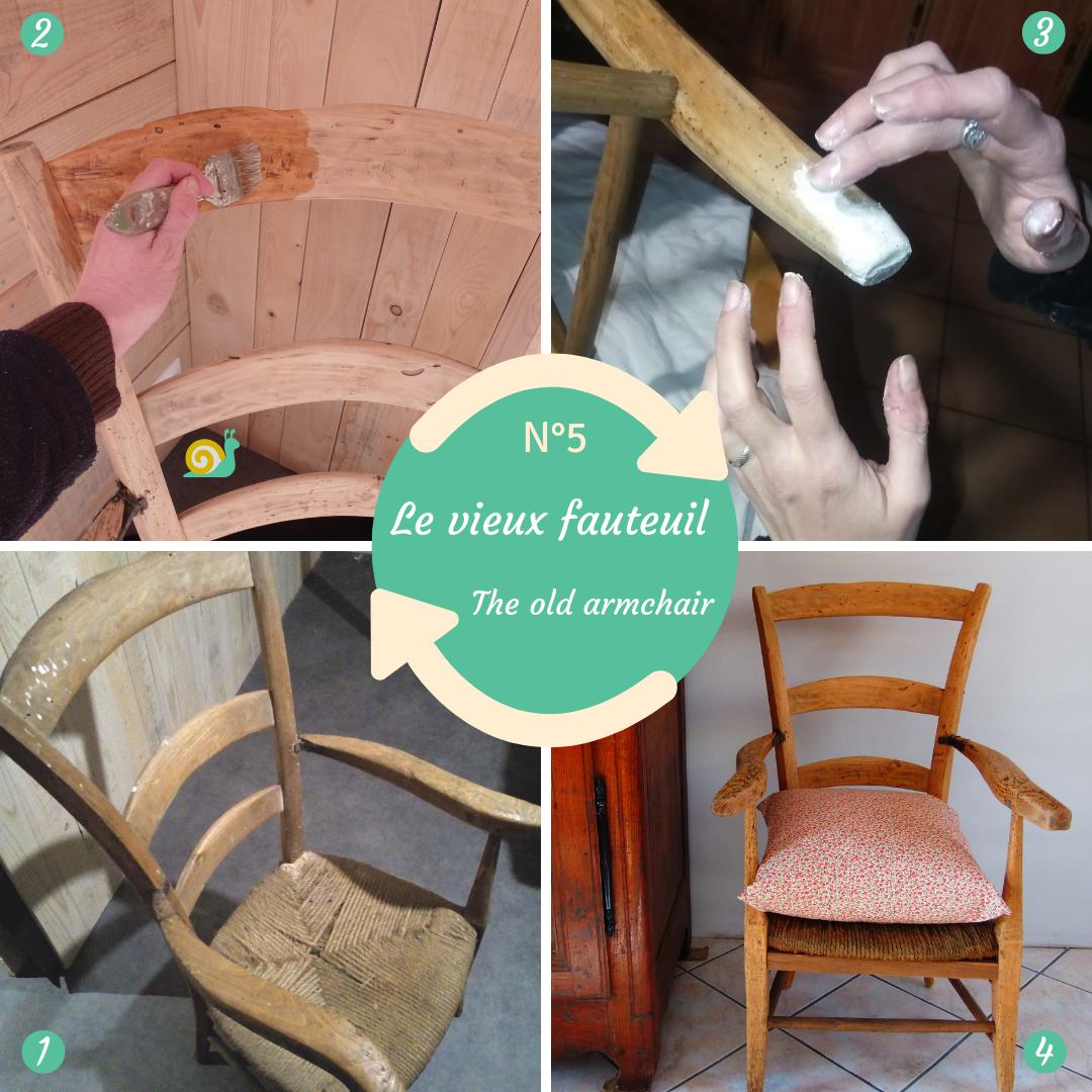 Rénovation d'un vieux fauteuil auvergnat