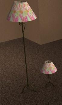 Lampadaire et lampe de table recoloration tissu fleurs rose et vert