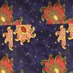 3  Moquette imprimée fleurs sur fond bleu