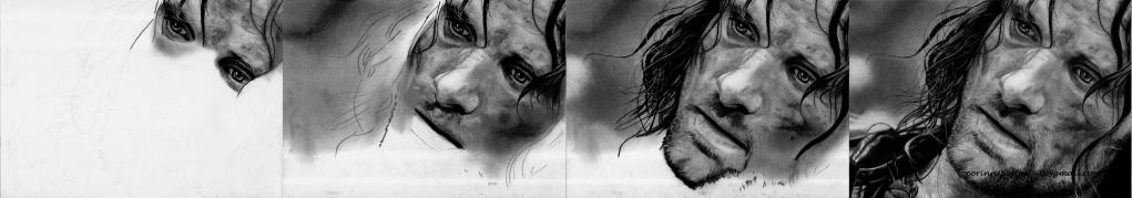 Viggo MORTENSEN - Pierre noire et fusain/Black chalk pencil and charcoal - A4 - Novembre 2011