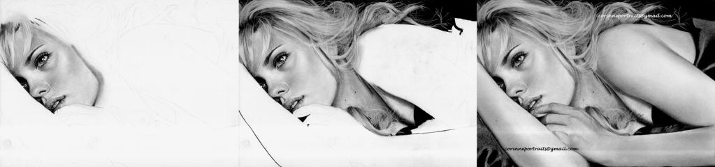 Scarlett JOHANSSON - Fusain et pierre noire/Charcoal and black chalk pencil - A4 - Mars 2012