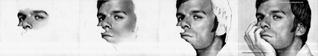 Michael C. HALL (DEXTER) - Fusain et pierre noire/Charcoal and black chalk pencil - A4 - Février 2012