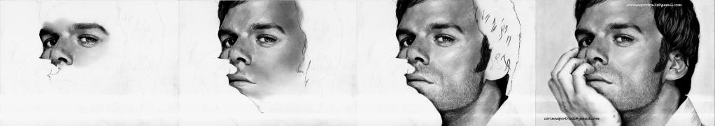 Michael C. HALL (DEXTER) - Fusain et pierre noire/Charcoal and black chalk pencil - A4 - Février 2012