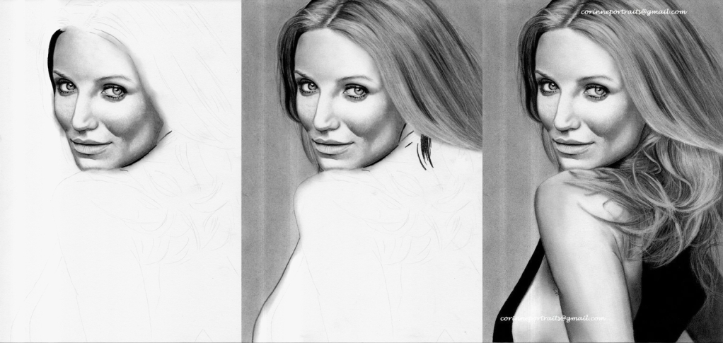 Cameron DIAZ - Fusain et pierre noire/Charcoal and black chalk pencil - A4 - Mars 2012
