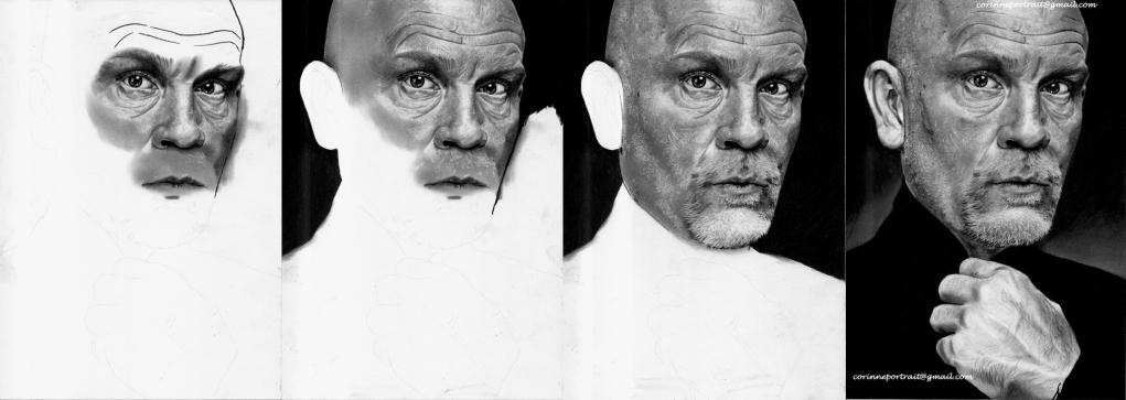 John MALKOVICH - Fusain et pierre noire/Charcoal and black chalk pencill - A4 - Février 2012