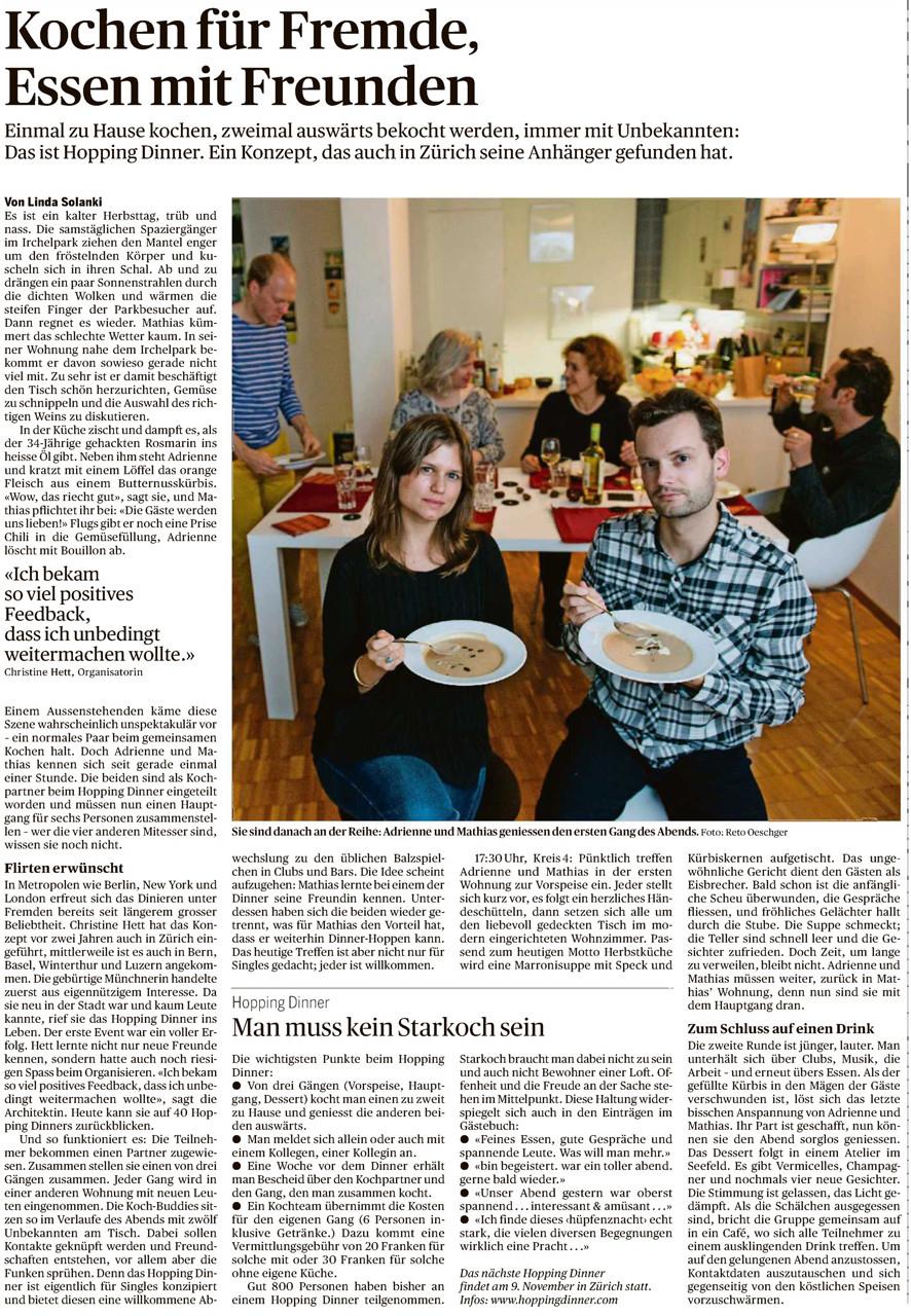 Zuhause Kochen Für Fremde tagesanzeiger 25 10 13 hopping dinner schweiz