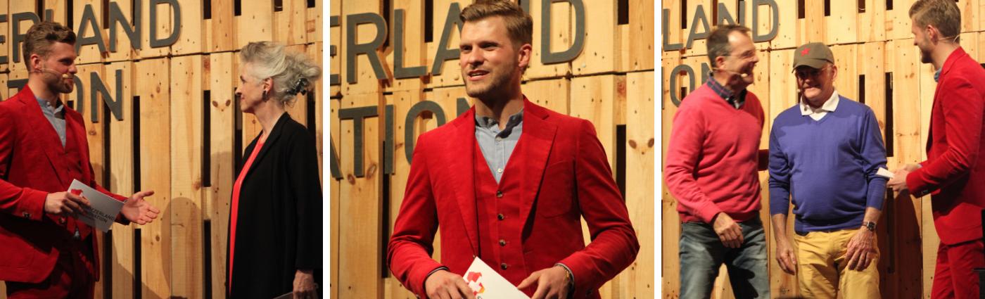 Moderator Thomas Odermatt moderiert das 3-Jahres-Jubiläum des Innovationspark Zürich in Dübendorf.