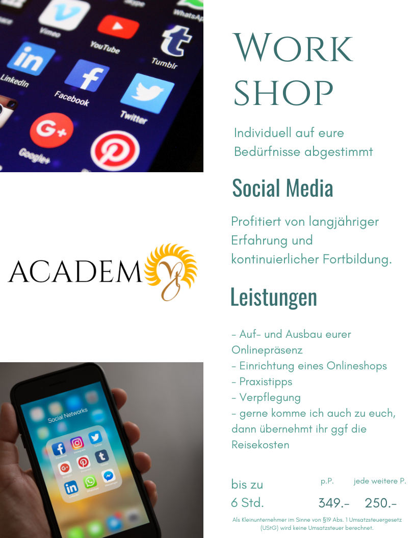 workshop onlineshop webseite facebook instagram lübeck