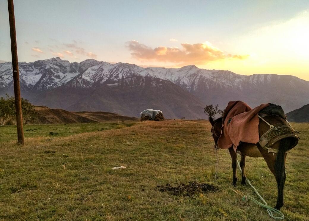 Copain à côté de la tente et coucher de soleil sur les montagnes