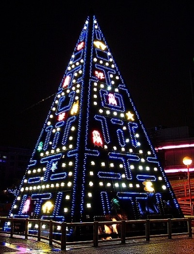 Pac Man Weihnachtsbaum für Gamer, gesehen auf Youtube