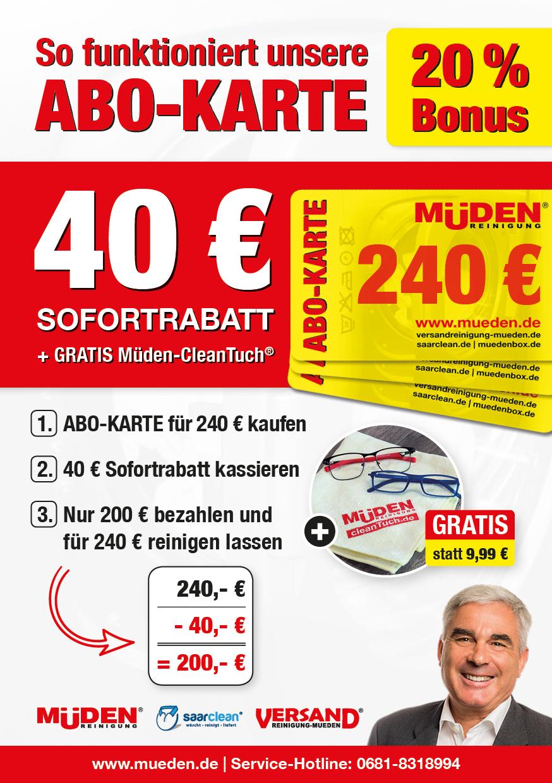 Versandreinigungmueden.de Flyer Abokarte mit Bonus € 40