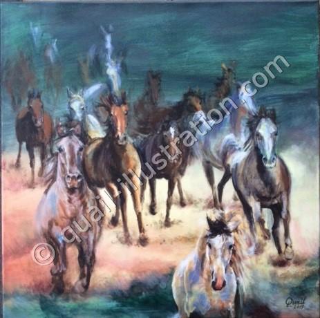 Vilde heste 50x50 cm i akryl