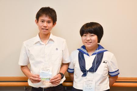 左から 柳田悠太朗くん(3年)、成松紀佳さん(3年)