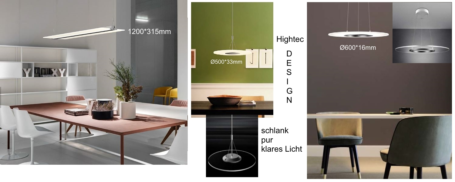 PL-HD LED HighTec Design transparente Pendelleuchte Farben steuerbar