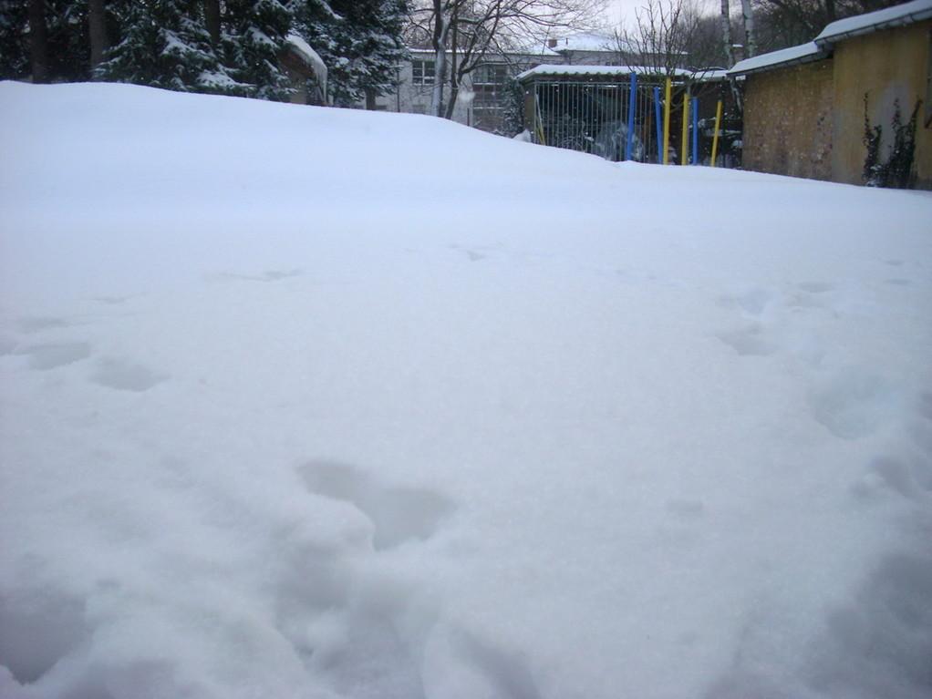 Die Nebengebäude verschwinden hinter Schneebergen.