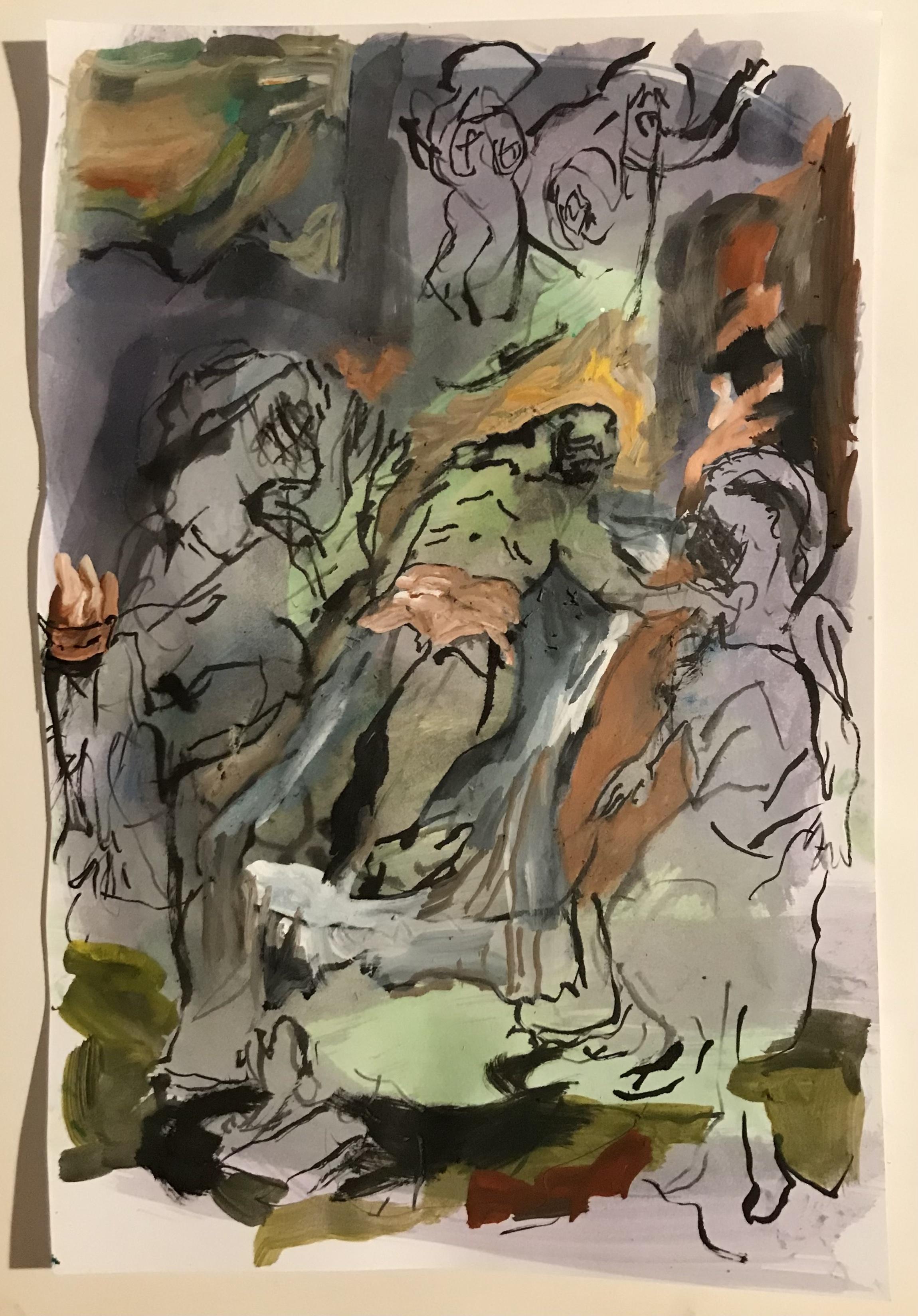 Untitled, paint on paper cm 17x25, 2021