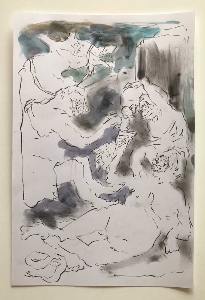 Untitled, graphite and paint on paper cm 20x30, 2021