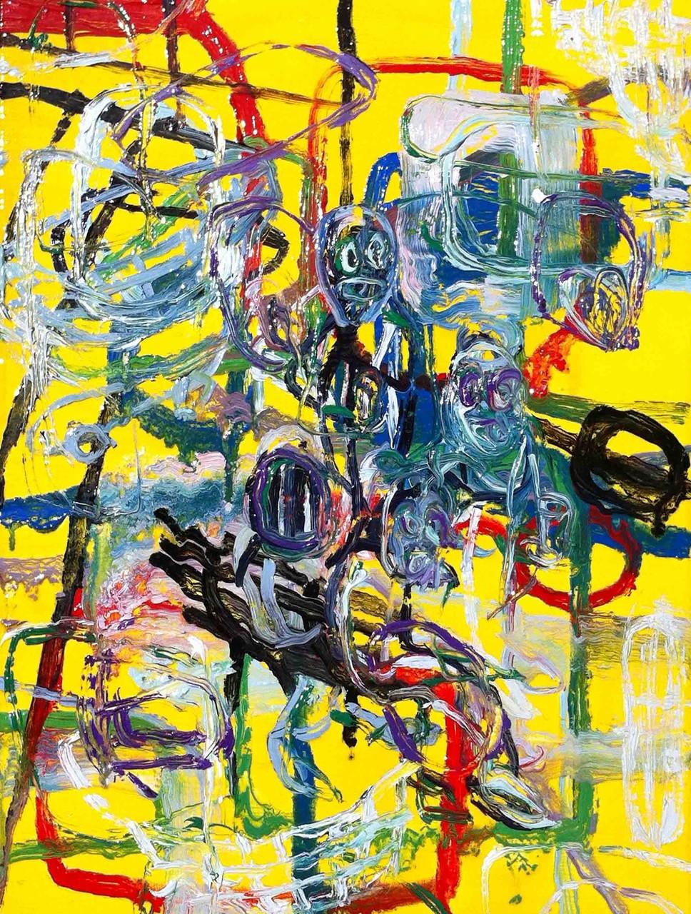 Il copertone e la panchina, tecnica msita su tela cm 40x30, 2014