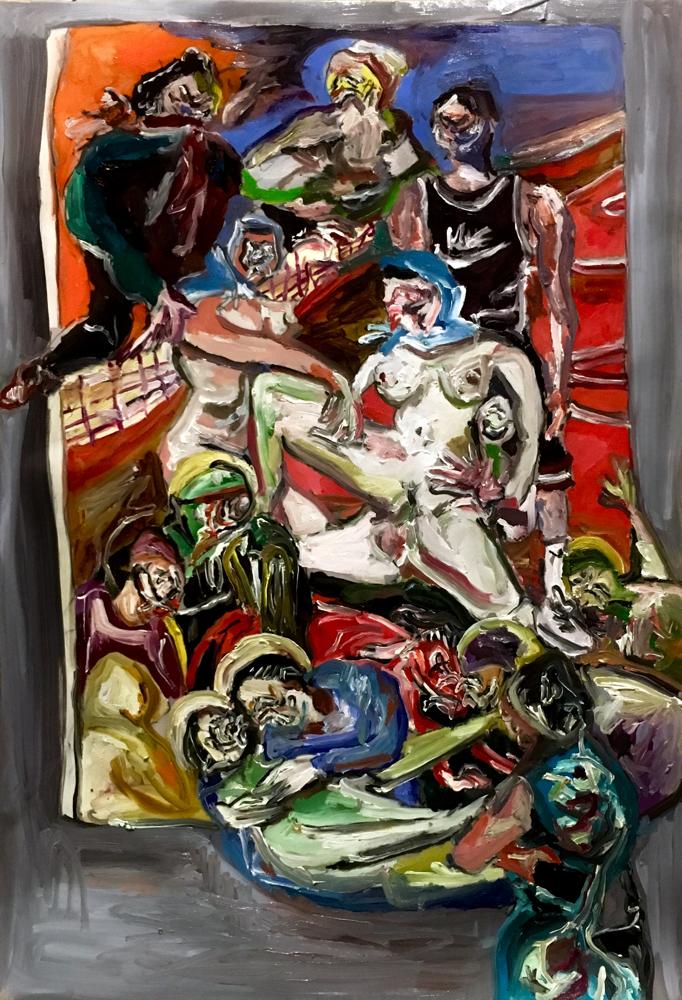 Portrait versus orgia, oil on paper cm 35x50, 2019