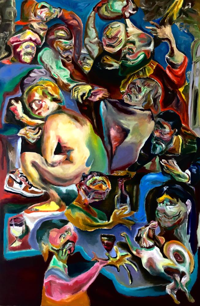 Happiness di noialtri, oil on canvas cm 107x161, 2019