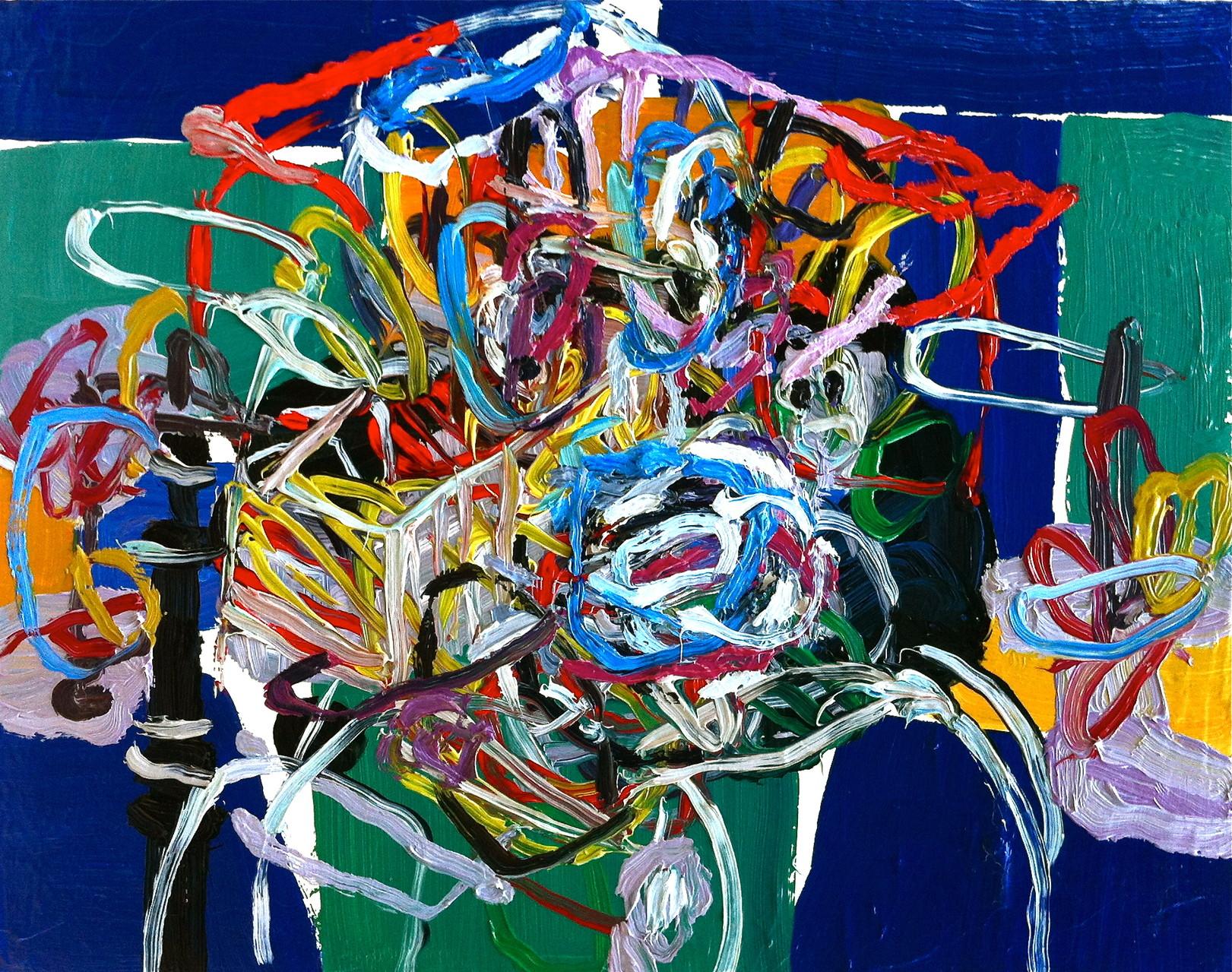 La capacità di un uomo di abbandonare il proprio carrello,olio su tela cm 28x22, 2014