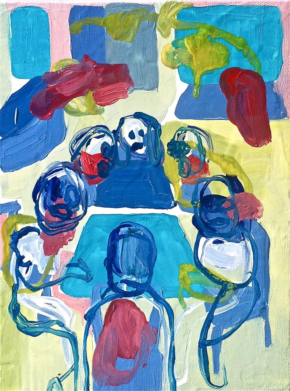 Noi siamo tavolo,tecnica mista su tela cm 18x24, 2014