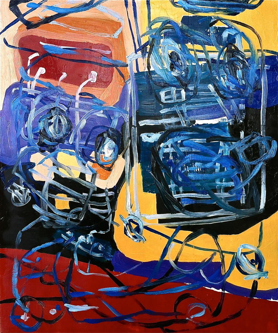 Cavetti collegamenti ipertestuali, olio su tela cm 46x55, 2014