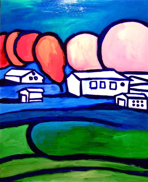 Centrinpaesaggio#2, olio su tela, 80x100, 2010