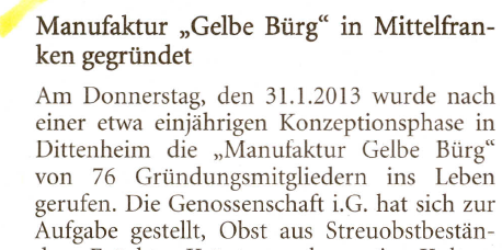 """Manufaktur """"Gelbe Bürg"""" in Mittelfranken gegründet"""