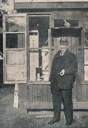 Een foto van Gijs van Staveren uit 1941. In het begin van de Tweede Wereldoorlog mocht men nog wel duiven houden, maar er niet meer mee vliegen. Veel liefhebbers plaatsten toen een ren bij hun hok voor wat meer beweging en frisse lucht. Zo ook Oude Gijs.
