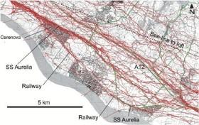 Een onderzoeker van de universiteit van Zurich bevestigde GPS-zendertjes op de rug van de duiven en registreerde zo de route die iedere duif vloog na de lossing. Iedere rode streep is de route van een afzonderlijke duif. De stippellijn is de rechtstreeks