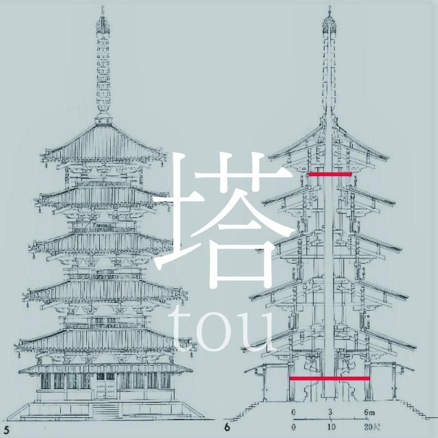 奈良斑鳩町 法起寺|塔の逓減率