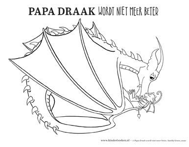 Kleurplaat Papa Draak wordt niet meer beter