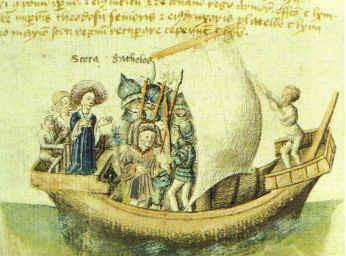 Scota (izquierda) y Goidel Glas viajando de Egipto, como se muestra en un manuscrito del siglo 15 de la 'Scotichronicon' de Walter Bower, en esta versión Scota y Goidel Glas (latinizado como Gaythelos) son marido y mujer.