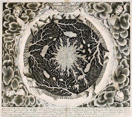 Un diagrama del centro de la Tierra como una gigantesca bola de fuego del libro 'Mundo Subterráneo' del años de 1678.
