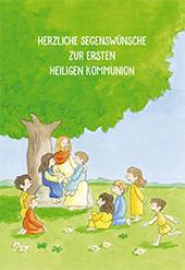 Kommunionkarte Jesus mit Kindern unter einem Baum