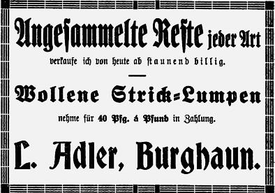 Textilwaren Louis Adler, später Joseph Adler, Oberste Straße