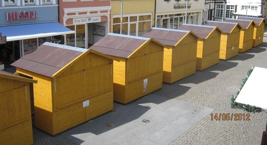 Markthütten zum mieten, abgebildet sind die Verkaufstände mit 3,00m x 2,00m
