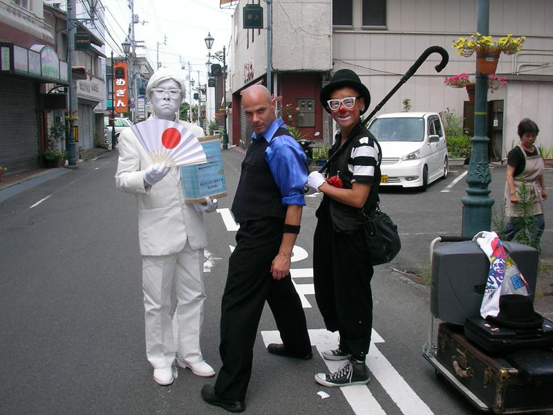 大道芸の共演 riki、ロト、Shiva