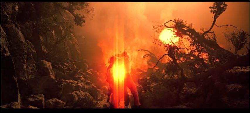 wie so oft, wurde ein neuer Beameffekt eingeführt, hier zu sehen, während Kirk Spock vom explodierenden Planeten Genesis rettet